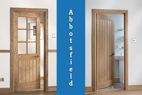 A picture of a Abbotsfield full boarded and glazed version of internal oak door