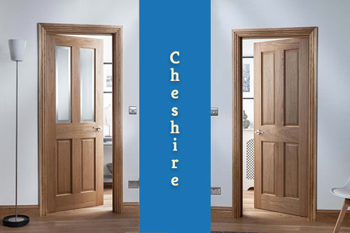 A picture of a Cheshire full boarded and glazed version of internal oak door