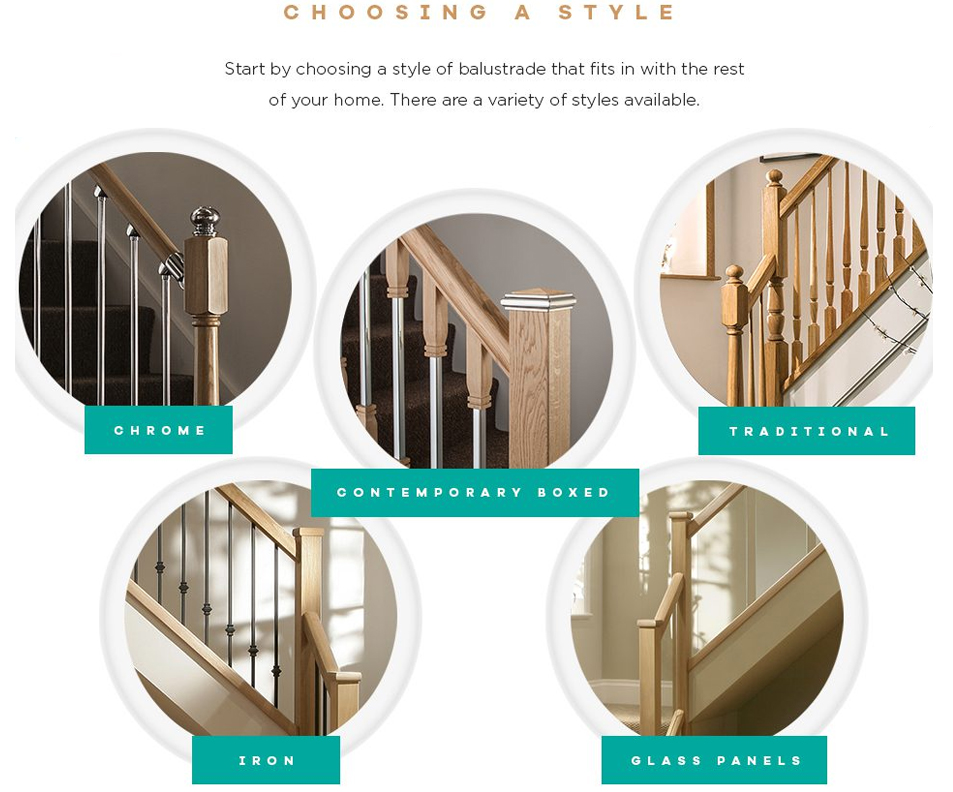 An image that shows the different styles of staircase including chrome, contemporary, traditional, iron and glass.