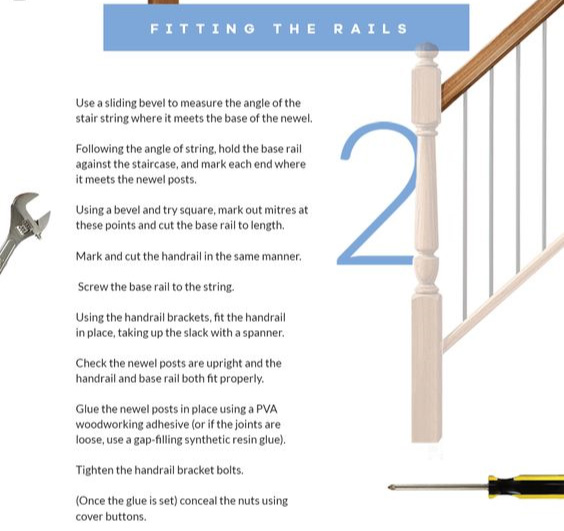 An image showing a step by step guide on how to replace handrails and base rails.