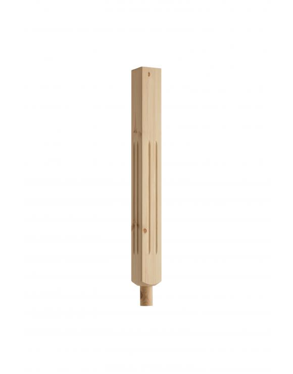 Square Double Fluted Newel Post with Spigot Dowel image