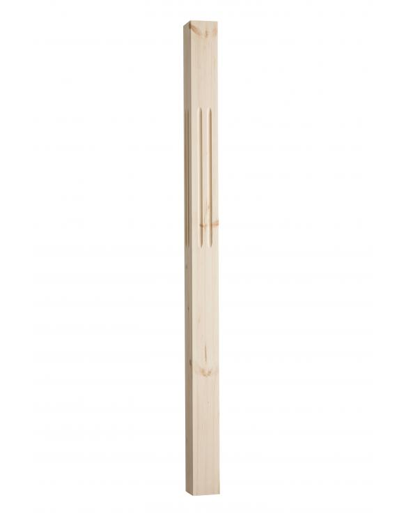 90mm Square Double Fluted Reeded Newel Post 1500mm image