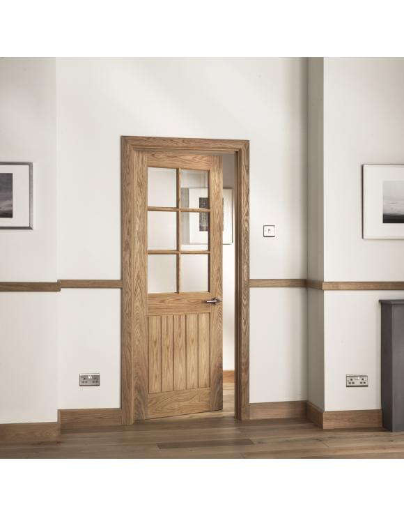Abbotsfield Mexicano 6 Light Clear Bevel Glazed Oak Internal Door image