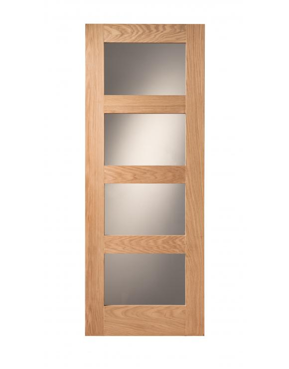 Cheshire 4 Light Shaker Clear Glazed Oak Internal Door image