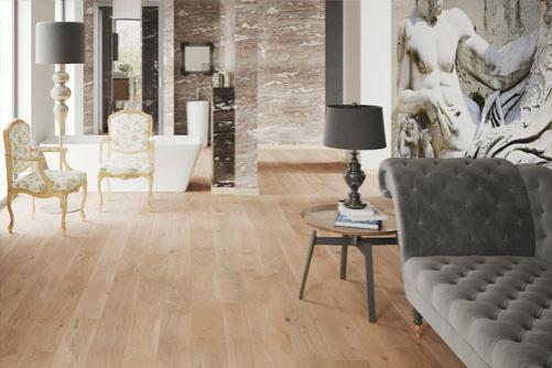 Light Oak Engineered Oak Flooring in a home.