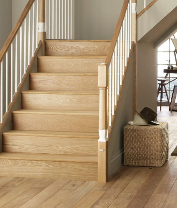 A picture of Oak Stair Cladding Treads and Risers in a home environment.