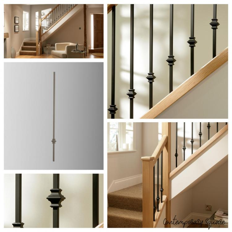 A mixture of different images that showcase Blueprint Joinerys' Contemporary Square Black Iron and metal stair spindles range.