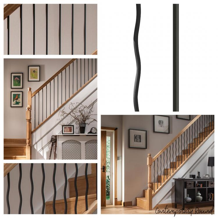 A mixture of different images that showcase Blueprint Joinerys' Contemporary Round Black Iron and metal stair spindles range.
