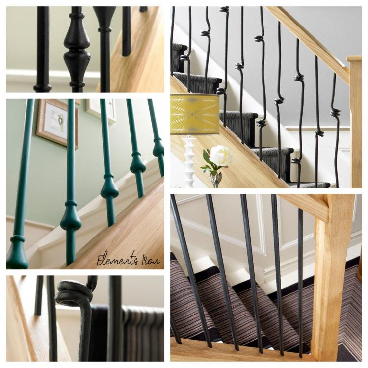 A mixture of different images that showcase Blueprint Joinerys' Elements Black Iron and metal stair spindles range.