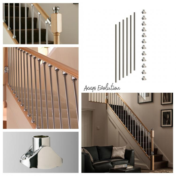 A mixture of different images that showcase Blueprint Joinerys' Contemporary Axxys Evolution and metal stair spindles range.