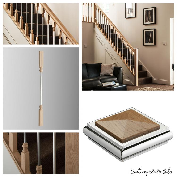 A mixture of different images that showcase Blueprint Joinerys' Contemporary Solo and metal stair spindles range.
