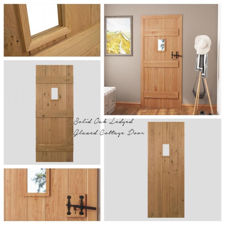 Solid Oak Ledged Glazed Cottage Door product image