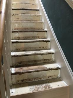A customers stairs before adding stair cladding. The treads and risers are really worn and old looking in this image.