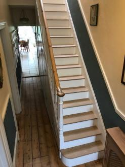 A customers stairs after adding stair clad.