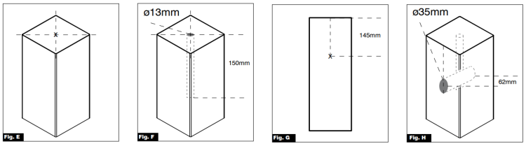 Fig E, F, G and H images. The images explain what to do when using an existing newel base.