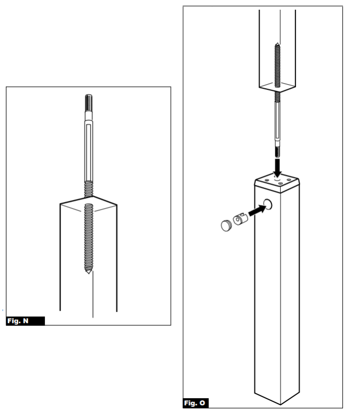 Fig N and O images. The images demonstrate how to connect the newel post to newel base using a long screw.