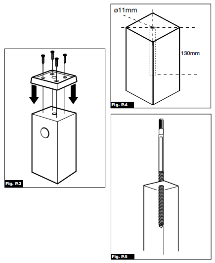 Fig P3, P4 and P5 image. The image demonstrates how to install the intermediate newel post.