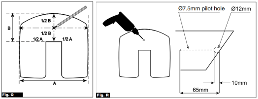 Fig Q and R image. Showing the measurements and where to drill on the handrail.