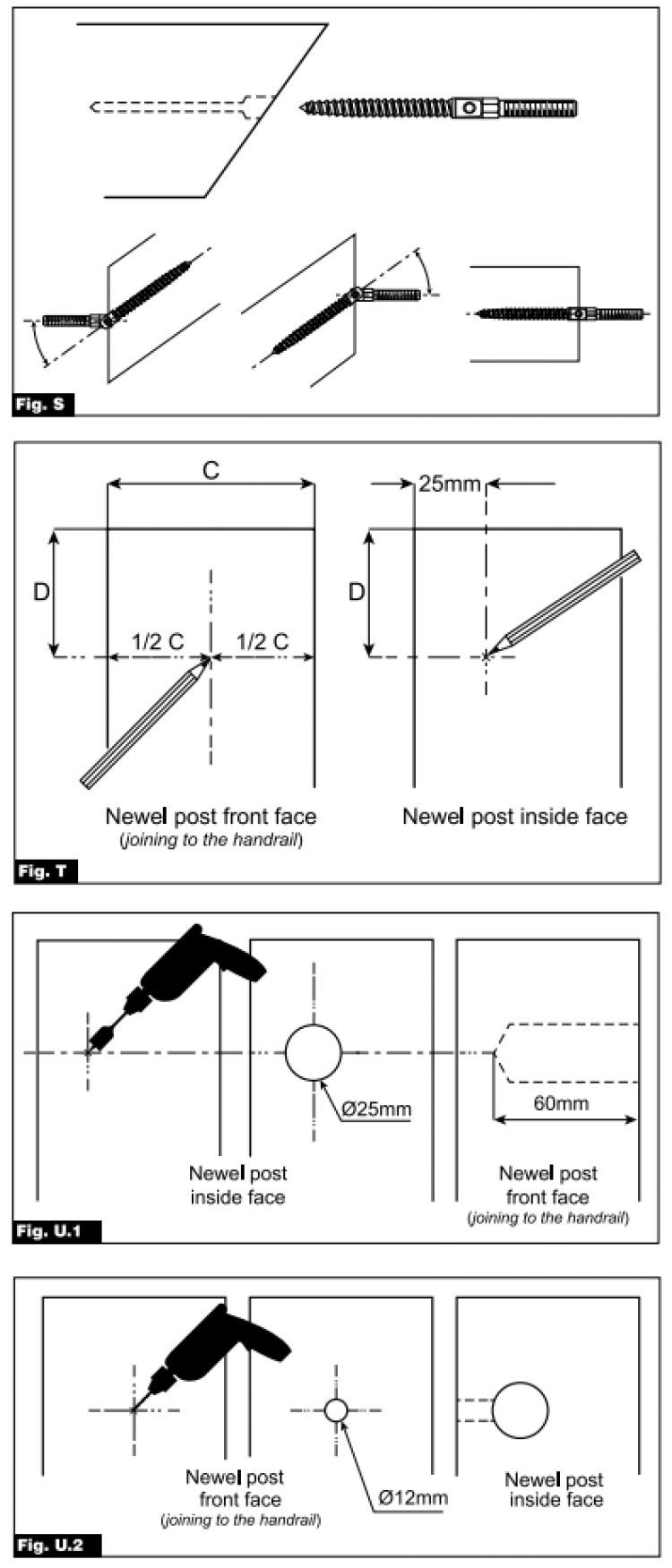 Fig S, T, U1 and U2 images. The images explain how to prepare your handrail ready to be fixed to the newel posts.