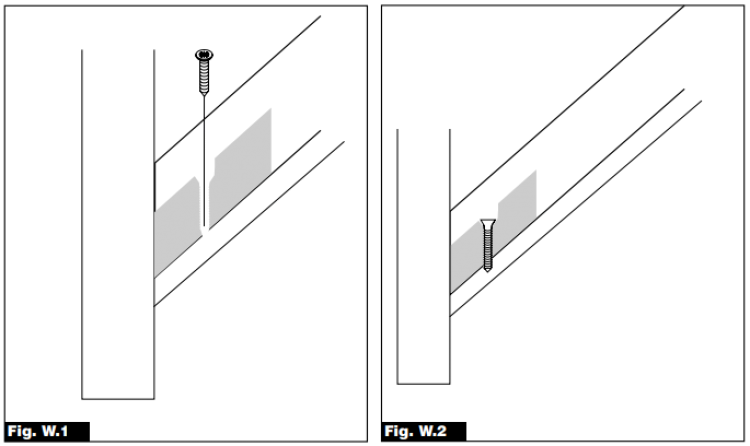 Fig W1 and W2 images. The images demonstrate installing the glass panels