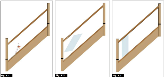 Fig X1, X2 and X3 images. The images demonstrate how to fix the glass panels to the handrail and base rail.