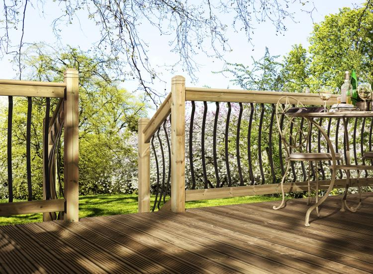 A picture of a garden on a sunny day with Bow and Eden Metal Decking Balustrade