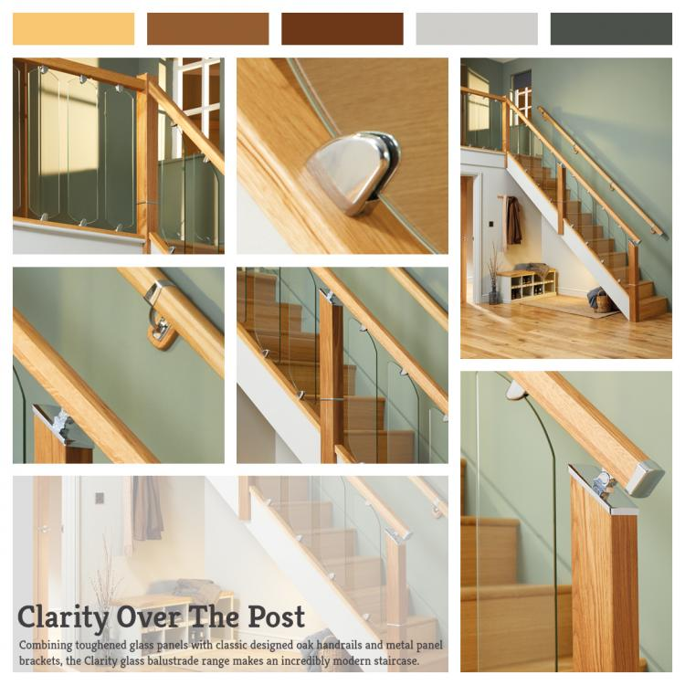 A lifestyle picture of Clarity Over The Post Glass Balustrade. A staircase that combines toughened Glass Panels with classic designed Oak Handrails.