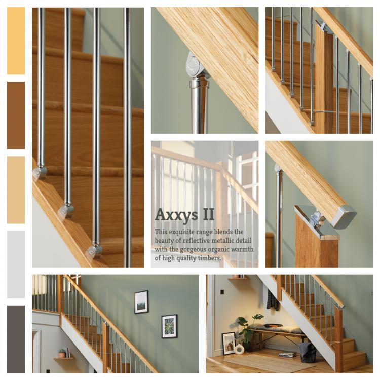 A lifestyle picture of Axxys Over The Post Metal Balustrade. This exquisite range blends the beauty of reflective metallic detail with the gorgeous organic warmth of high quality timbers.