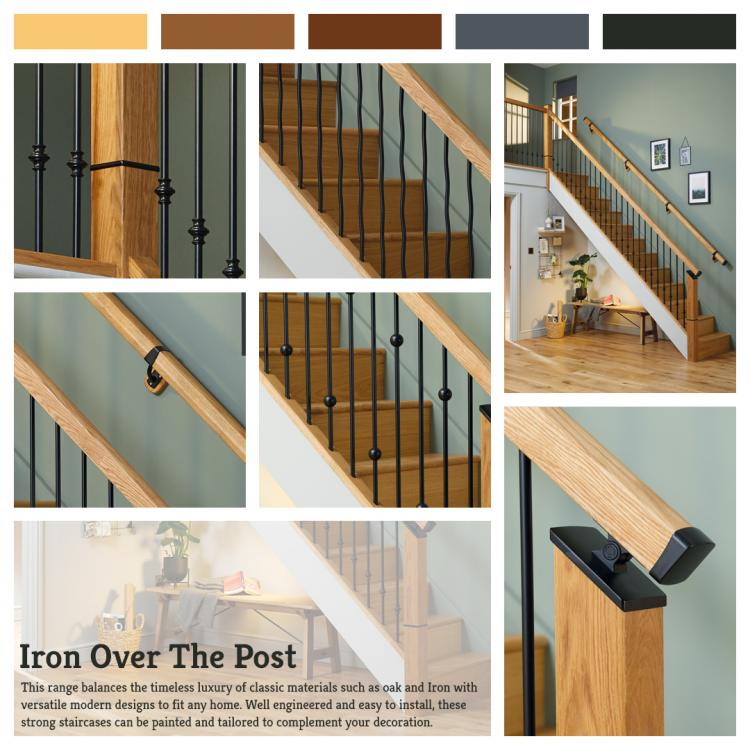A lifestyle picture of Black Iron Over The Post Metal Balustrade.