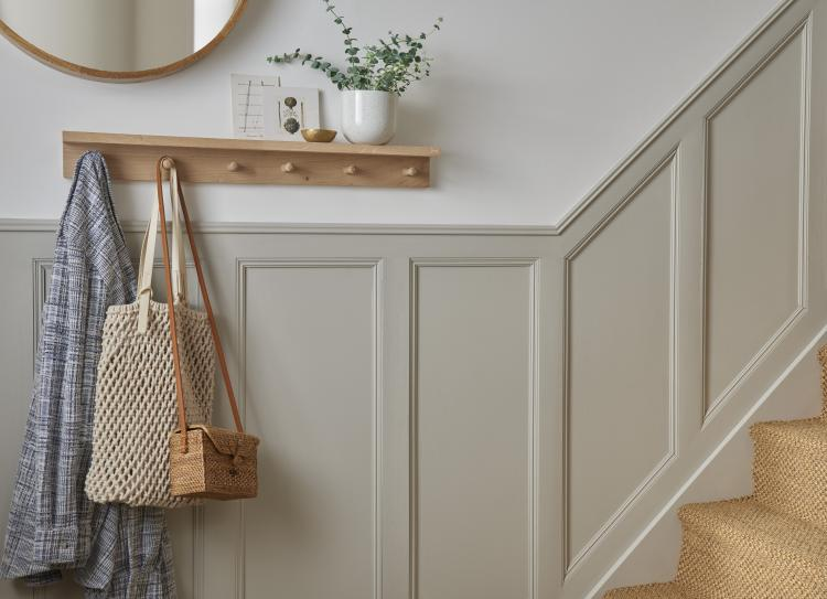 Grey Wall Panelling installed in a hallway. This was achieved using Wooden Mouldings.