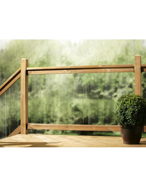 Treated Softwood Clearview Glass Decking Rail image