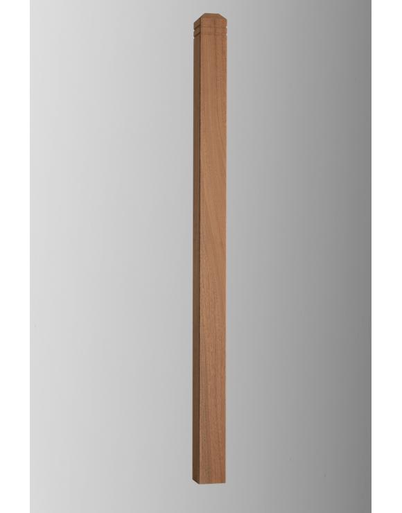 Chamfered & Beaded Red Hardwood Decking Newel Post image