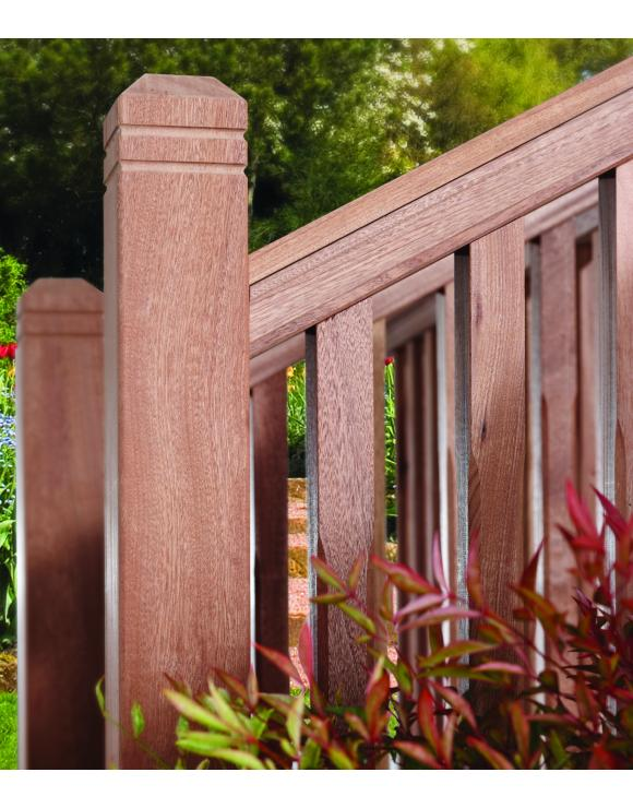 Chamfered & Beaded Red Hardwood Decking Newel Post image