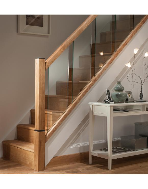 Reflections Oak Stair Base Rails for 8mm Glass image