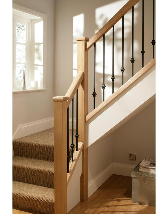 Contemporary Iron Solid Oak Base Rail for Square Spindles image