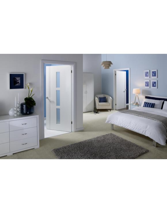 Europa Flush Sierra Blanco Glazed White Interior Door image