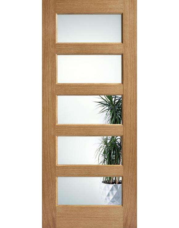 Contemporary 5L Clear Glazed Pre-Finished Oak Interior Door image
