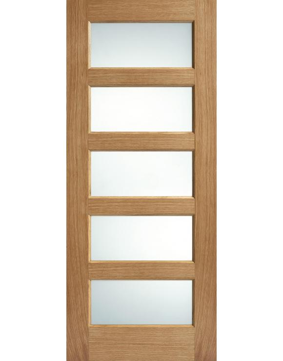 Contemporary 5L Frosted Glazed Pre-Finished Oak Interior Door image