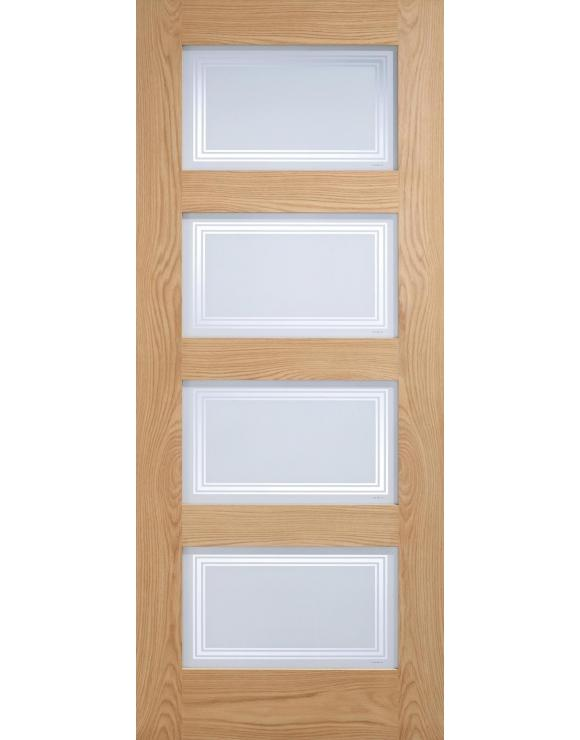 4L Contemporary Frosted Glazed Oak Interior Door image