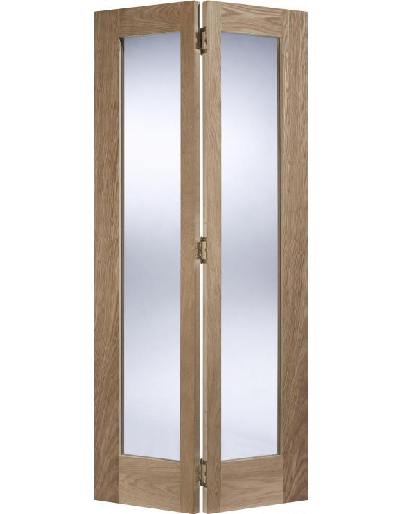 Contemporary Pattern 10 Glazed Bi-Fold Oak Interior Door image