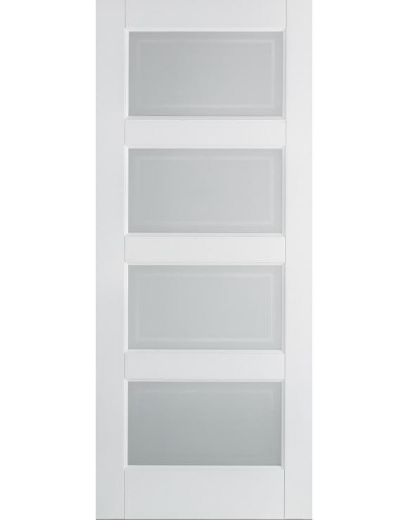 Contemporary 4L Solid White Primed Interior Door image