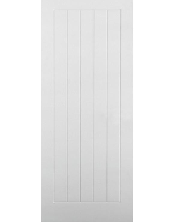 Textured Vertical 5P White Moulded Interior Door image