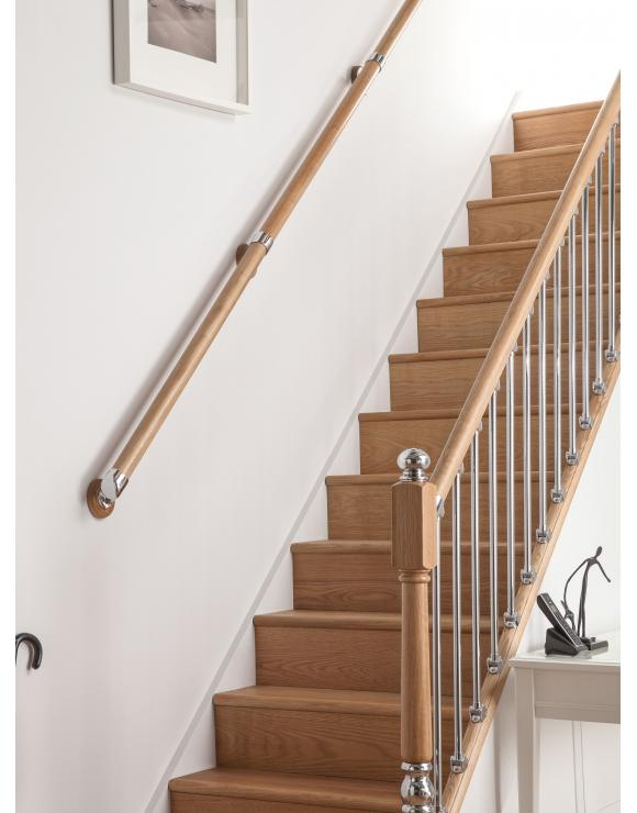 AXXYS Wall Handrail Kit 4mts - Rail in Box Set Oak and Chrome Stair Rail image