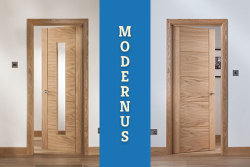 A picture of a Modernus full boarded and glazed version of internal oak door