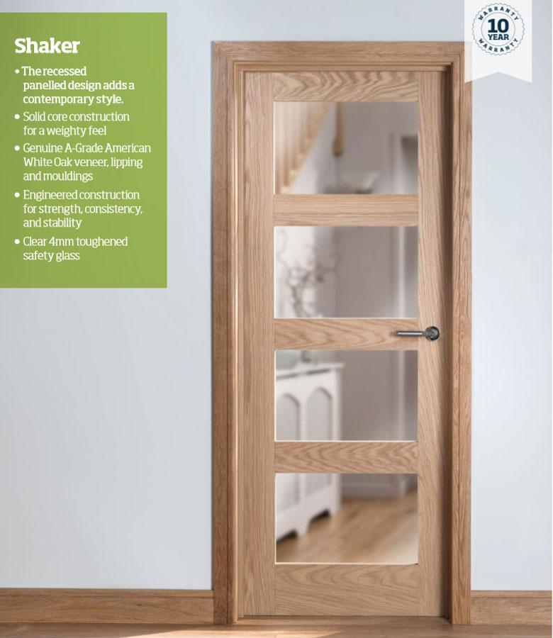 Solid Wood Internal Doors >> Cheshire 4 Panel Shaker Oak Internal Door