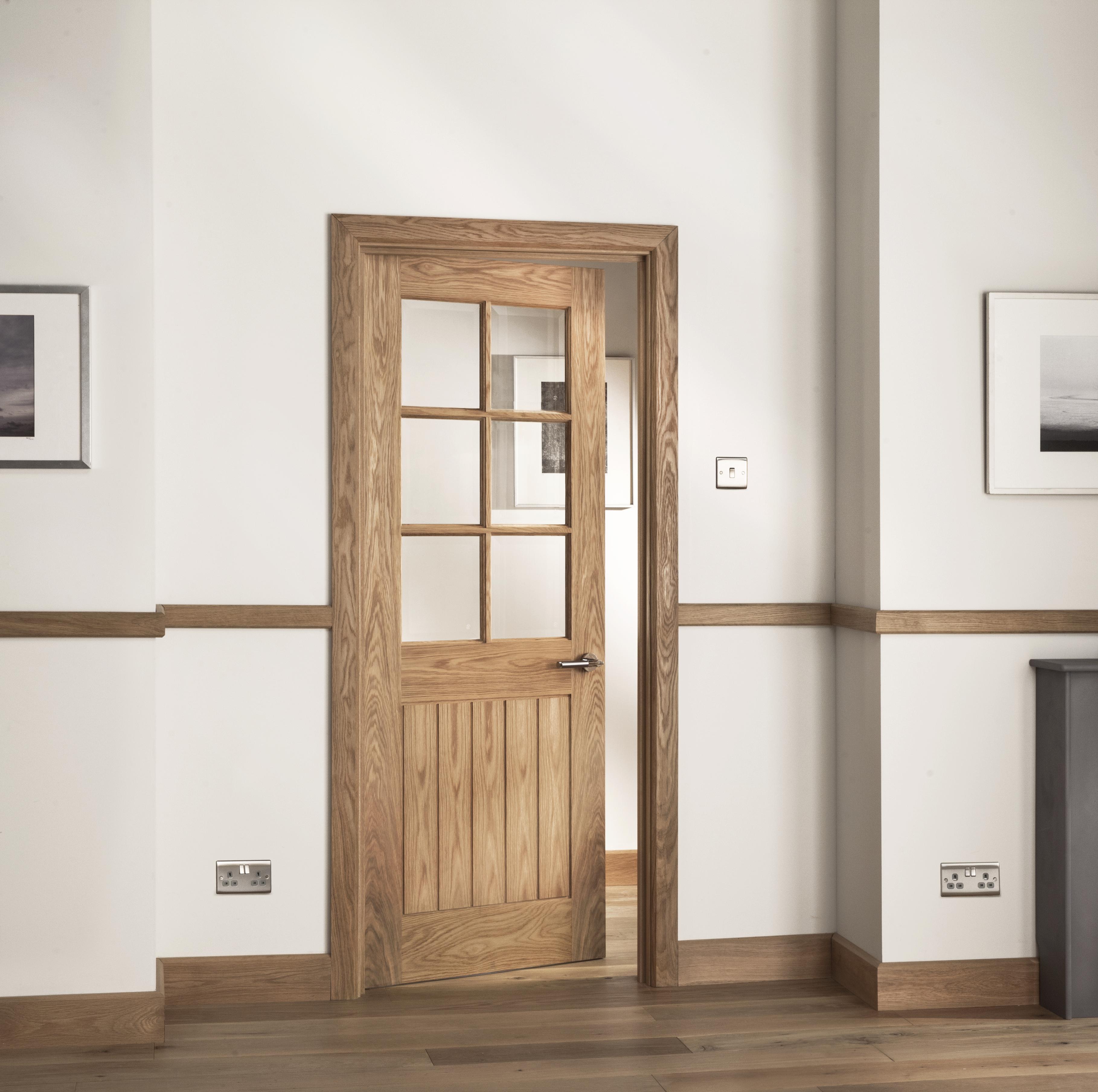 Abbotsfield Mexicano 6 Light Clear Bevel Glazed Oak Internal Door