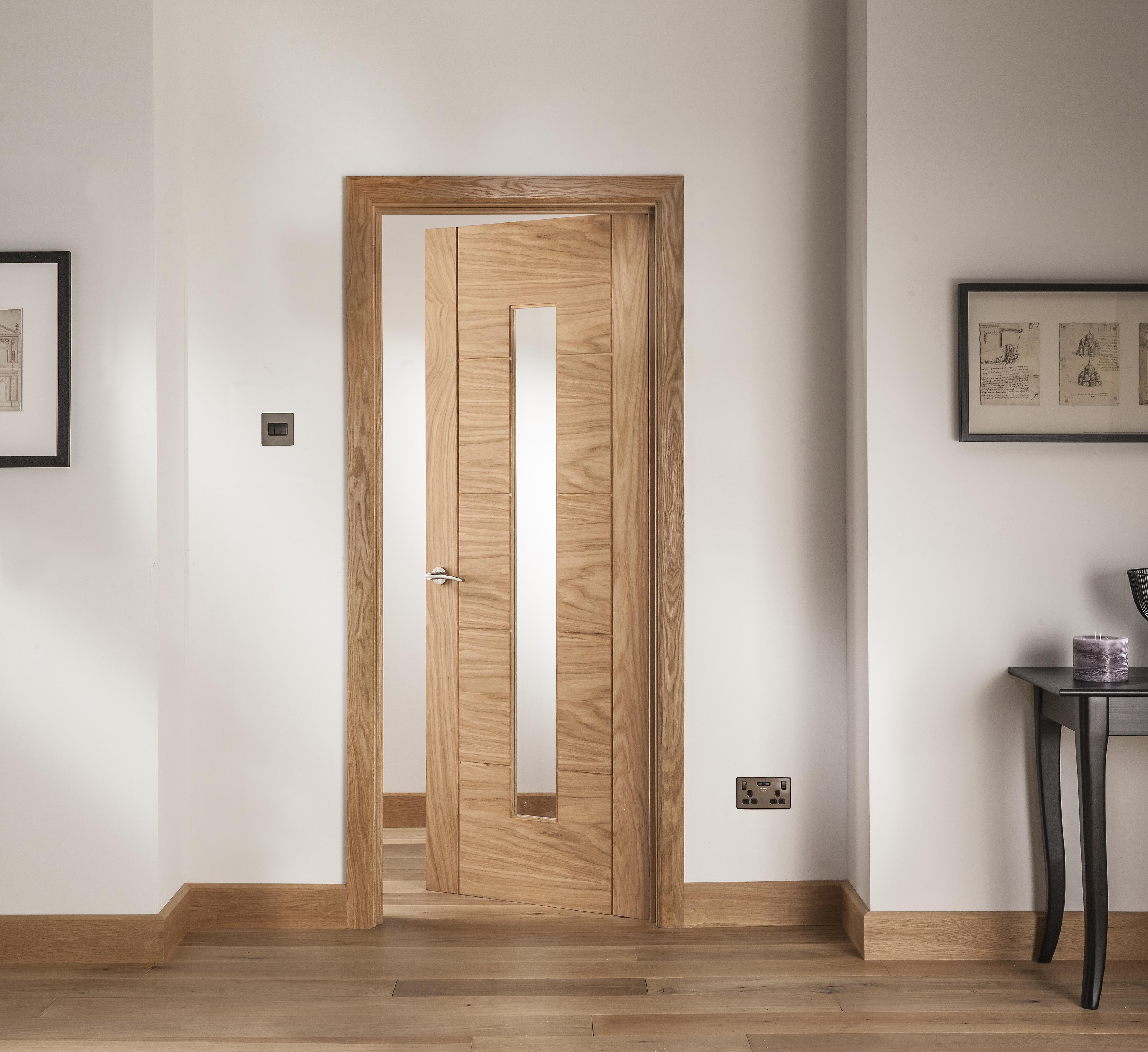 new style 32d81 93d08 Modernus 1 Light Clear Glazed Oak Internal Door