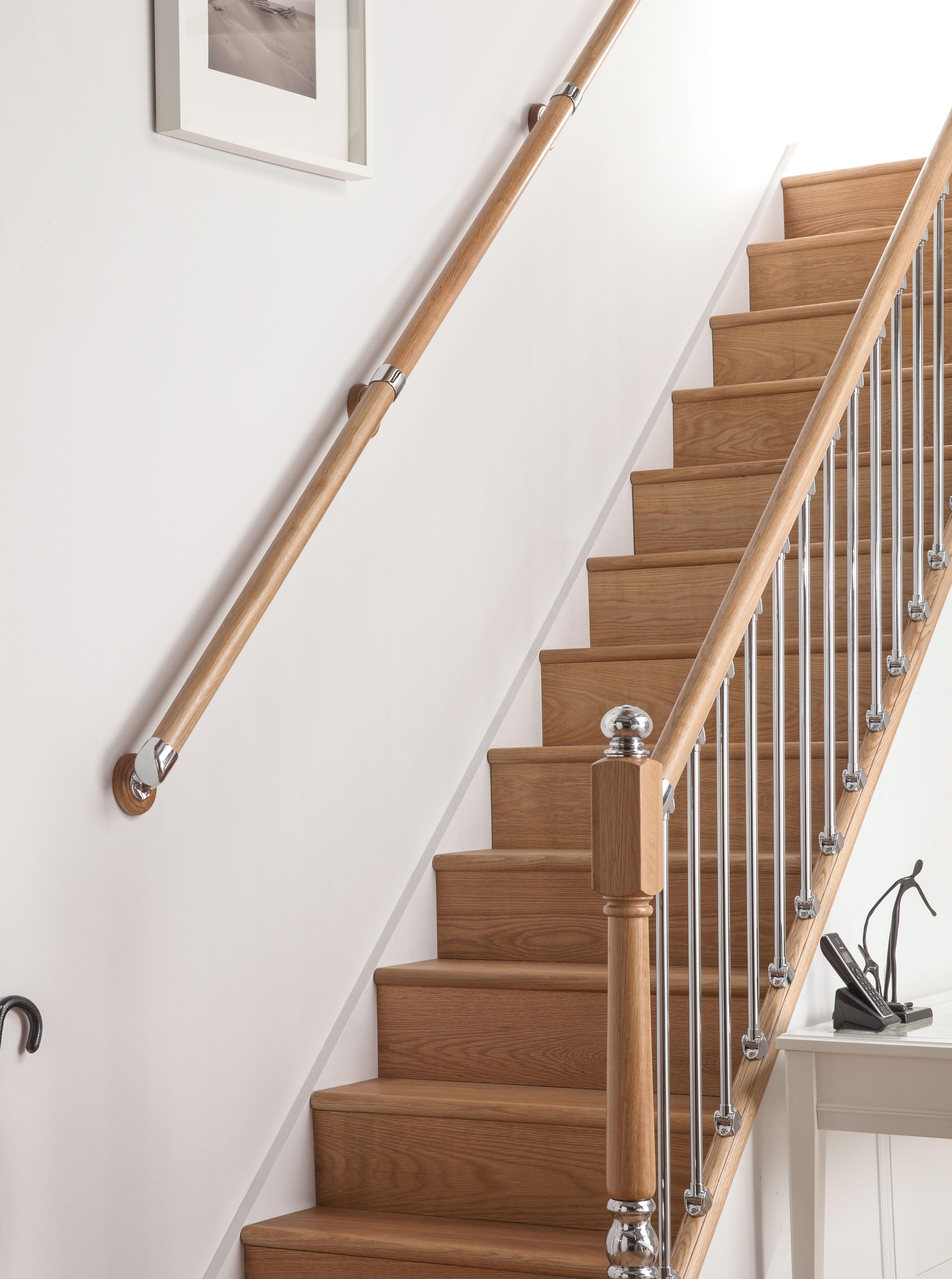 Ays Wall Handrail Kit 4mts Rail In Box Set Oak And Chrome Stair Image