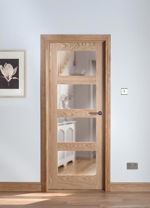 Cheshire 4 Light Shaker Clear Glazed Oak Internal Door Blueprint