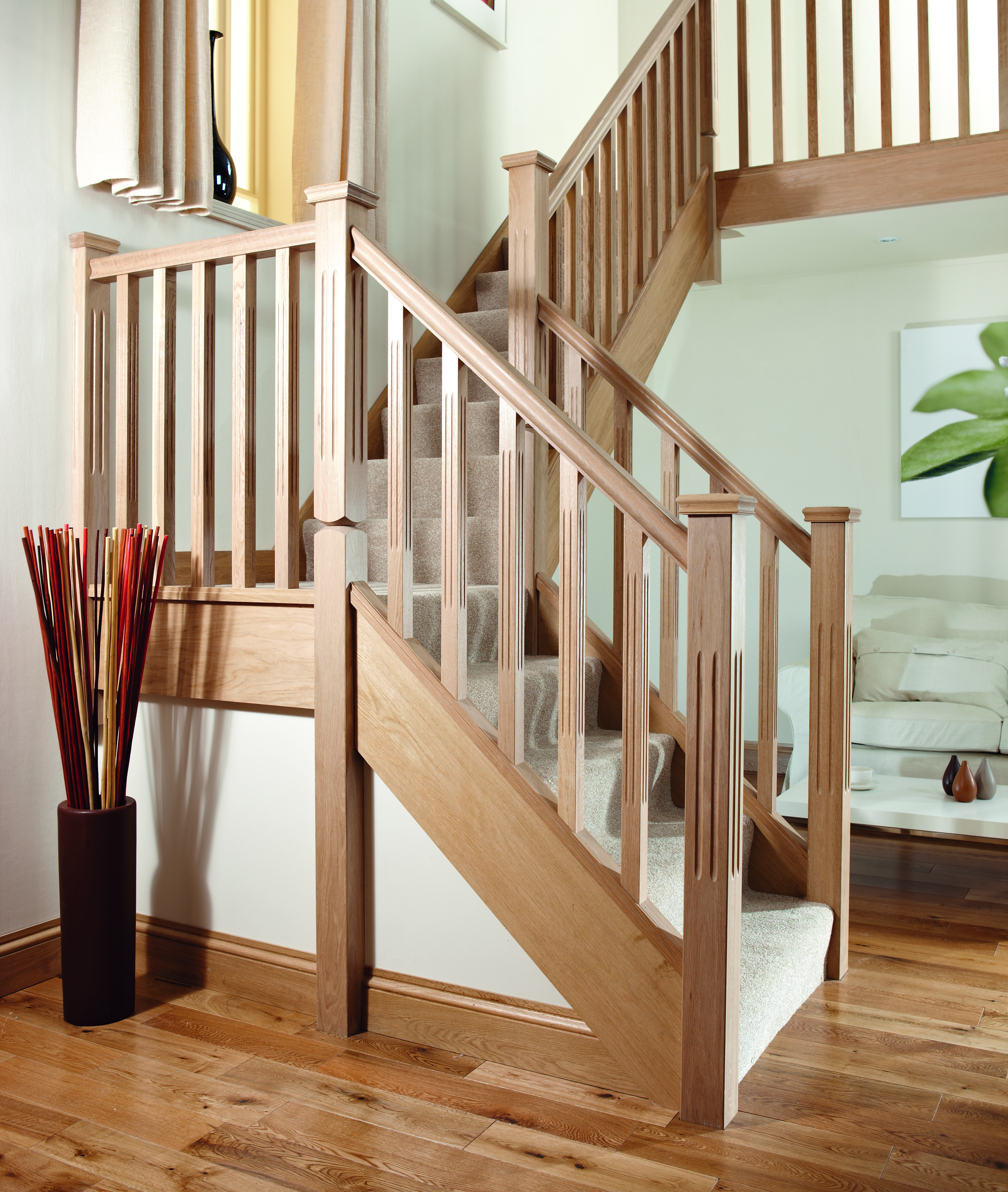 Beautiful Interior Staircase Ideas And Newel Post Designs: Square And Fluted Reeded Stair Spindle